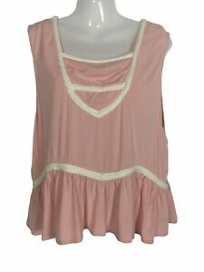 Womens top size 6 8 Somedays lovin pink white braided flutter hem sleeveless XS
