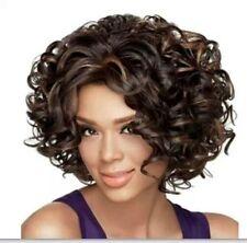 Belle bruns bouclés courte mixte perruquewig+hairnet