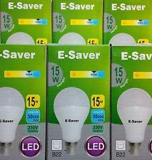 6x E-Saver, Energy Saving LED Light Bulbs, 15w, Globe, Daylight, B22 Bayonet