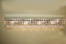 "US BRAND Cascade 8 Light Faceted Crystal Vanity Light Wall Sconce 36"" Long Wide"