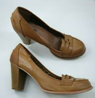Atmosphere size 8 (41) tan brown faux leather block heel court shoes