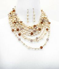 Gold and Multi Colored Pearl FASHION Necklace Set