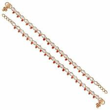 Anklet Payal Handmade Gold Plated Kundan Red Stone wedding Party wear Gift Her