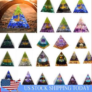 Amethyst Crystal Sphere Orgonite Pyramid Obsidian Chakra Energy Orgone Stone US