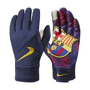 NIKE FC BARCELONA FIELD PLAYER GLOVES TRAINING SOCCER Navy/Team Red/Yellow
