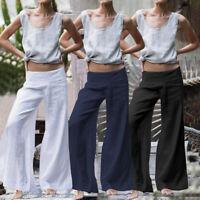 Mode Femme Pantalon Loisir Coton Casuel en vrac Loose Jambe Large Grande Taille
