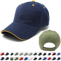 Baseball Caps Plain Strapback Sandwich Adjustable Solid Visor Hat Polo Style Men