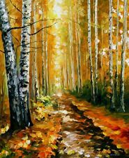 """AUTUMN BIRCHES —  Oil Painting On Canvas By Leonid Afremov. Size: 30""""x36"""""""