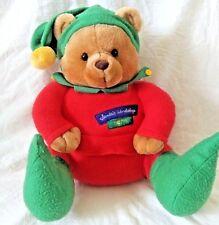 Hallmark Santa's Workshop Elf #25 Sitting Teddy Bear Plush Animal Red Green