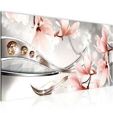 Wandbilder Blumen XXL - 100x40 cm Magnolien - Vlies Leinwand Bilder Wohnzimmer