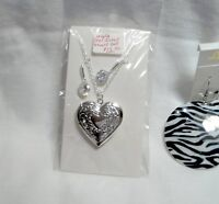 3 Piece Heart Pendent and Zebra Earrings
