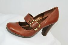 Next Brown Leather Mary Jane Shoes Size 5.5