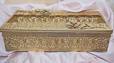 Vintage Gold Metal Filigree W Flower Accent Tissue Box Holder