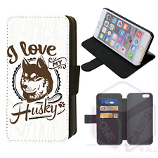 I Love My Husky Wallet Flip Phone Case Cover iPhone 4/5/6/7/8/X/XS Max/XR Galaxy