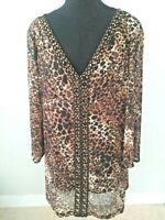 Alfani Woman Angel Sleeve Shirt Blouse V-Neck Animal Print Embellished Size 3X.