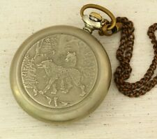 RARE Molnija wolves in forest 3602 mechanical USSR Soviet pocket watch 18 jewels