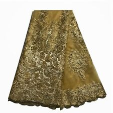 Gold African Lace Fabric French Tulle Lace Net Swiss Voile Fabric Wedding Dress