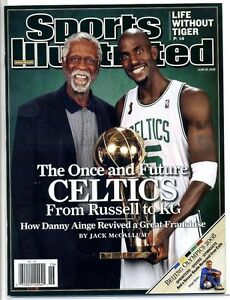 Boston Celtics Sports Illustrated No Label 2008 Kevin Garnett Bill Russell