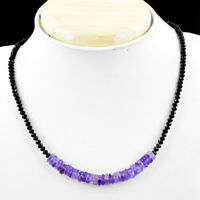 70.00 Cts Natural Purple Amethyst & Black Spinel Faceted Beads Necklace NK 06E60