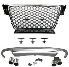Für Audi A4 B8 08-12 RS4 -Look Wabengrill + S4 Look Diffusor Nebelblende Grill 1