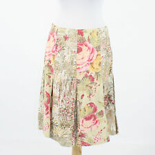 Beige pink yellow floral print 100% cotton ELEVENSES pleated knee length skirt 2