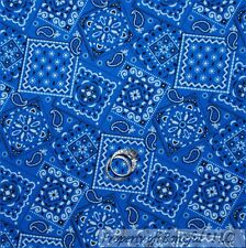 BonEful Fabric FQ Cotton Quilt Royal Blue White Bandanna Western Paisley Flower