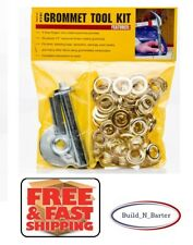 """1/2"""" Grommet Repair Tool Kit, 3-Punches 50-1/2"""" Rust-Proof Brass Coated Grommets"""