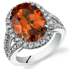 8.50Ct Oval Padparadscha Sapphire Sterling Silver Ring SR11126 Sizes 5 to 9