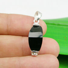 17x8mm Jet Black Color Onyx Gemstone Pendant Genuine 925 Sterling Silver
