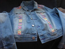 ladies blue denim jacket with embroidery
