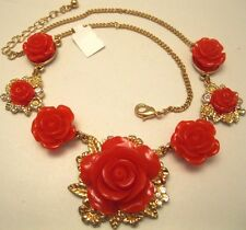 Necklace Red Gold Stamped Flower Buds Rhinestone Cluster Choker Unique NWT L1266