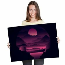A1 - Pink Mountain Cartoon Landscape Poster 60X90cm180gsm Print #24630