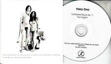 JOHN LENNON / YOKO ONO Unfinished Music No. 1: Two Virgins 2016 UK 3-tk promo CD