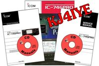 Icom IC-746 PRO CD SERVICE & OWNER'S MANUALS + Technical Brochure KJ4IYE CD ONLY