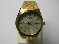 Citizen Eco-Drive Champagne Dial Gold-tone Stainless Steel Mens Watch