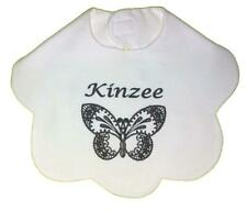 New White Personalized Handmade Embroidered Flannel Baby Girl Butterfly Bib
