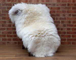 Genuine Sheepskin XXL 130-140 / 75-85cm Creamy White with grey places Fur Rug
