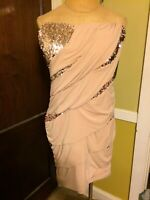 """DEB BRAND TAN DRESS WITH SEQUIN ACCENTS """"STRAPLESS"""" SIZE 3X"""