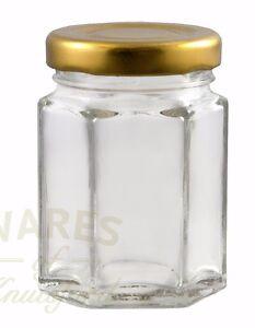 Small Hexagonal Glass Jar, 110ml, Packs: 12- 192, Jam, Wedding Favour, New *
