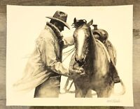WH Ford Print 'Partners' for Marlboro 1995 Cowboy and Horse Sketch Art 10 x 8