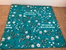 "VTG 1940s Happy Birthday Wrapping Paper  Floral Design folded 1 sheet 30""x20"""