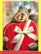 """New ListingAvanti ~ """"Nuts About You!"""" Valentines Day Greeting Card Squirrel Holds Heart Box"""