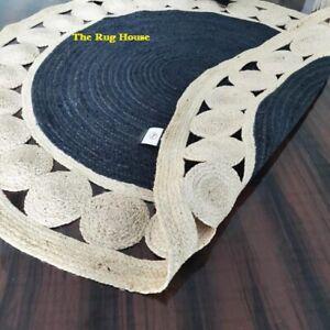 Rug 100% Natural Jute Reversible Round Area Handmade Carpet Home Decor Rag Rugs