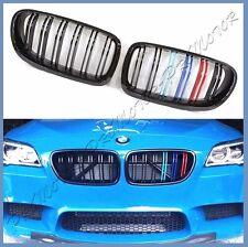 For BMW 11-15 F10 /// Colors Dual Slats Shiny Black Front Grille 528i 535i 550i