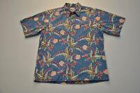 Reyn Spooner Hawaiian Shirt Aloha Blue Floral Print Men's Medium M