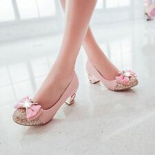 Womens Lady Girls Bowknot lita Slip on Wedding Rhinestone Sequin Shoes SZ 34-43