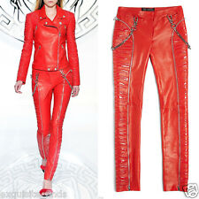 $5,975 New VERSACE Red Leather Moto Pants With Vinyl Animal Stripes 38 - 2