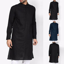 Mens Casual Long Sleeve Indian Ethnic Nepal Loose Top Shirts Tunic Casual Kurta