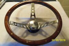 "Vintage 13"" Wood Grain Rat Rod Steering Wheel with Chevy / Ford Adapter"