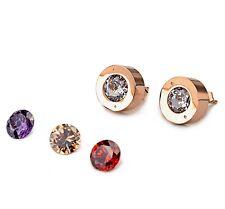 Rose Gold GP Stainless Steel Interchangeable Cubic Zirconia Stud Earrings